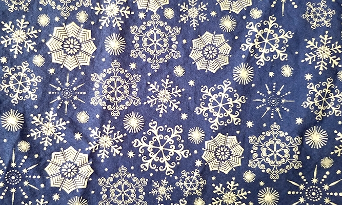 Blue with Shiny Silver Snowflakes